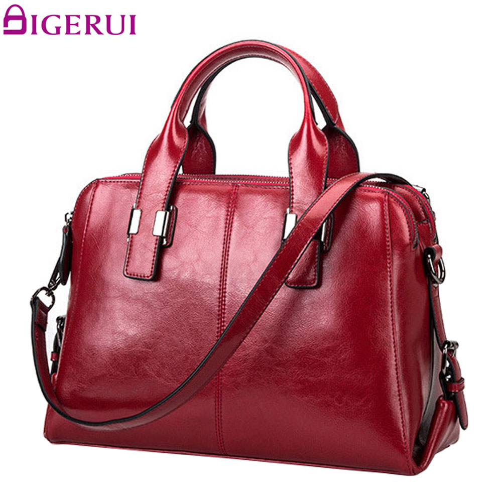 DIGERUI Women Genuine Leather bags Totes Messenger Bags Designer Luxury Brand Bag Female Handbag Cow Leather