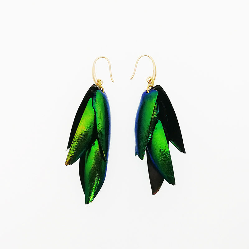 Vanssey Vintage Fashion Thailand Natural Beetle Wings Green Iridescence Brass Dangle Earrings Accessories for Women 2017 New