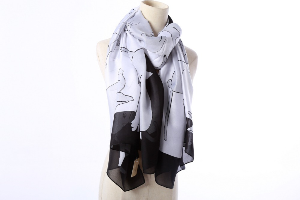 Elegant Silk Cat Design Scarf