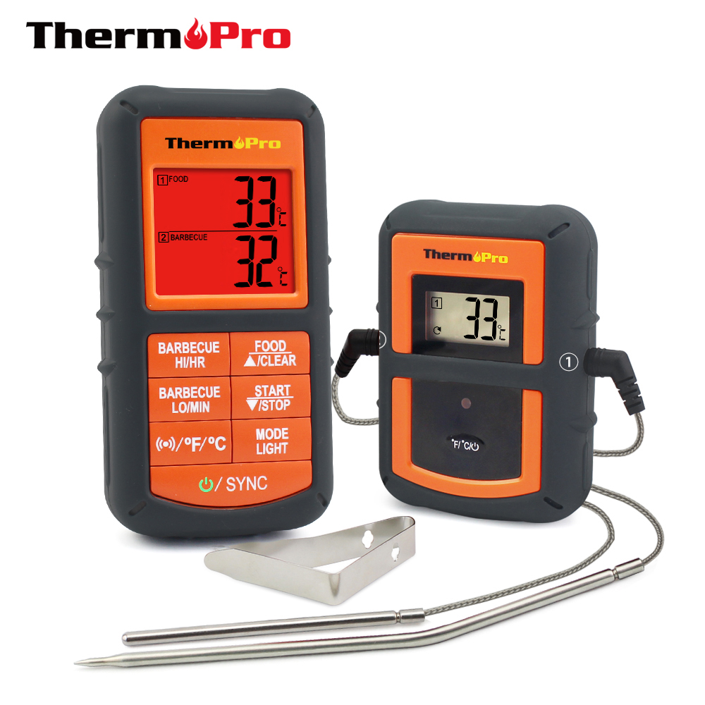 ThermoPro TP-08 100M Remote Wireless Food Kitchen Thermometer Dual Probe For BBQ, Smoker, Grill, Oven, Meat With Timer ...