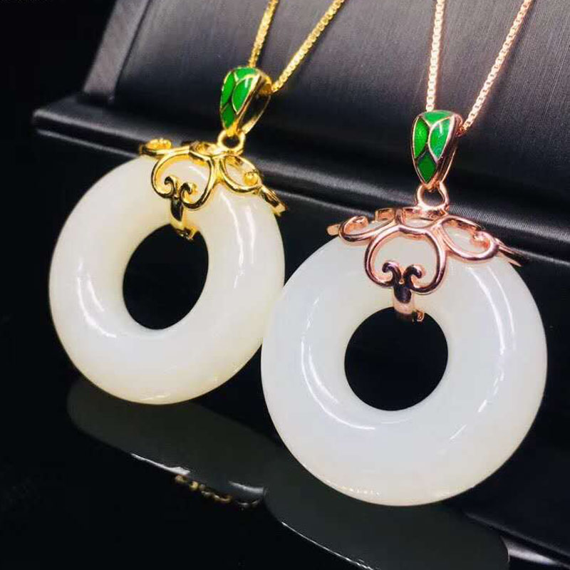 White Hetian Jade Pendant Necklace 925 Sterling Silver Circle Jade Pendant Jewelry Lucky Blessing Fine Jewelry
