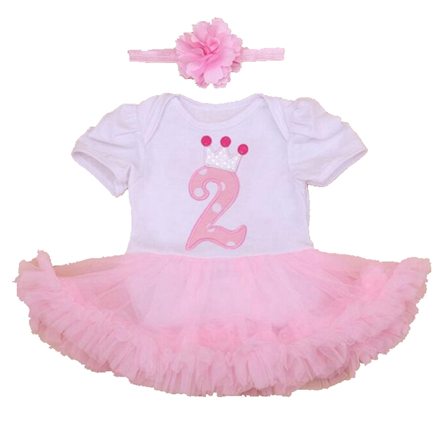 Crown Second Birthday Pink Girls Outfits Lace Petti Romper Dress Headband 2PCS Baby Girl Summer Clothing Sets Girls Clothes 2016
