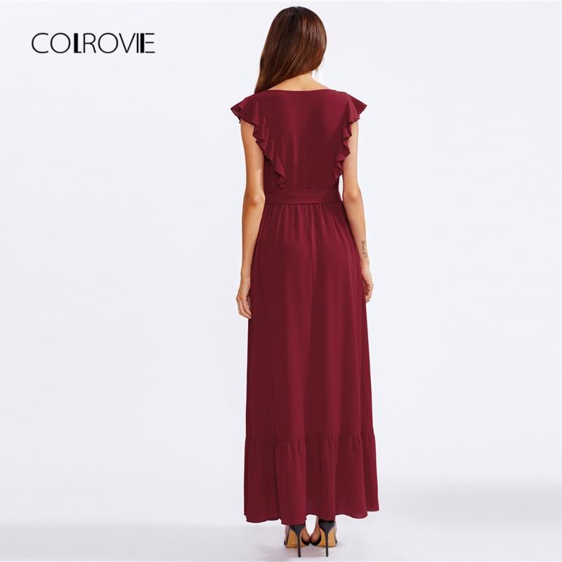 63a8a0c35b6 COLROVIE Burgundy Frill Shoulder And Hem Self Belted Ruffle Summer Dress  2018 High Waist Maxi Dress Elegant Party Women Dress-in Dresses from Women s  ...