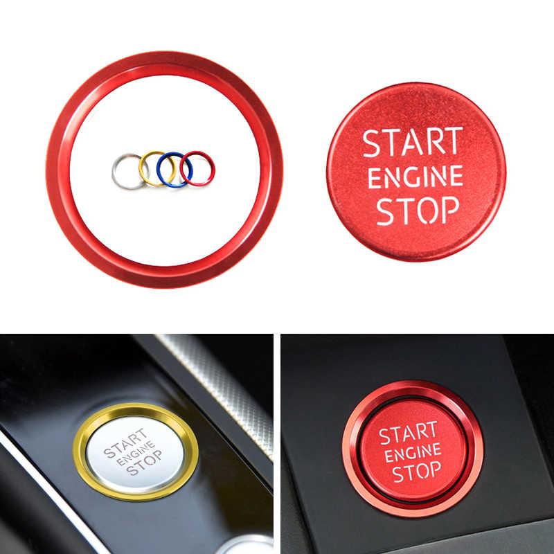 سيارة الألومنيوم سبيكة محرك بداية زر التوقف الدائري الغلاف تريم ل أودي A4 B9 A5 2017 2018 A6 A7 C7 Q5 8R 2011 2012 2013-2017