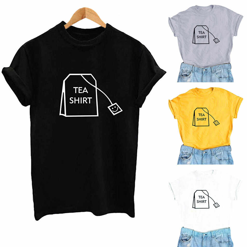 20Women Girl Funny Short Round neck High waist Slim Sleeve Cotton Shirts Cute Junior Graphic Tee Top