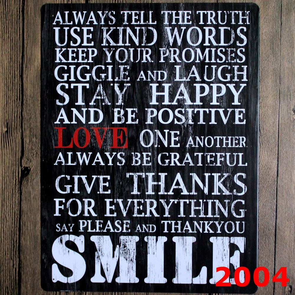 Smile English Poetry Large Size Vintage Metal Painting Tin Signs Bar Pub Wallpaper Art Decor Mural Poster Craft 30x40 Cm In Calligraphy