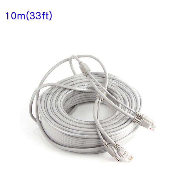 10M/33ft CCTV Network Cable RJ45 Cable with 12V DC Power 2.1x5.5mm CAT5/5e Extension CCTV Ethernet Cable For CCTV IP Camera NVR