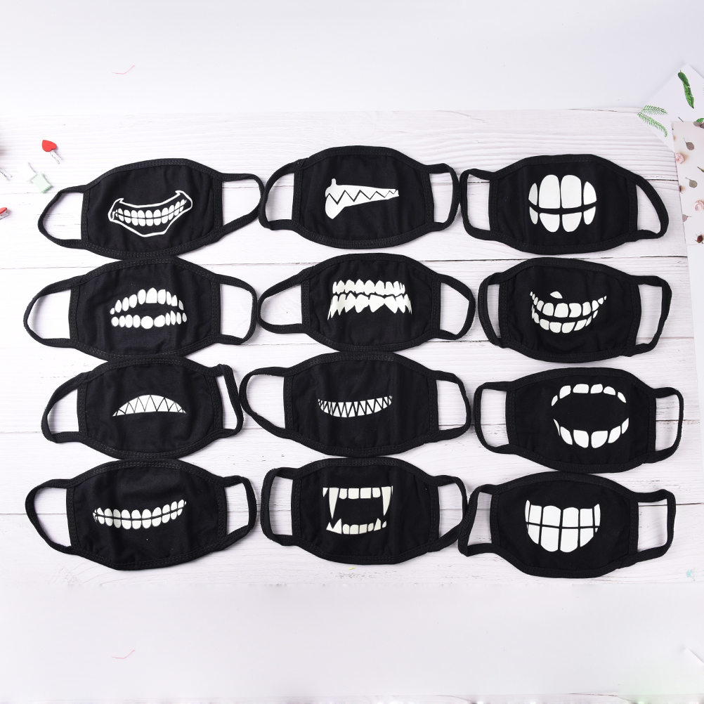 1pc Light In The Dark Mouth Mask Anti Dust Keep Warm Cool Unisex Mask Black Noctilucent Cotton Face Mask все цены