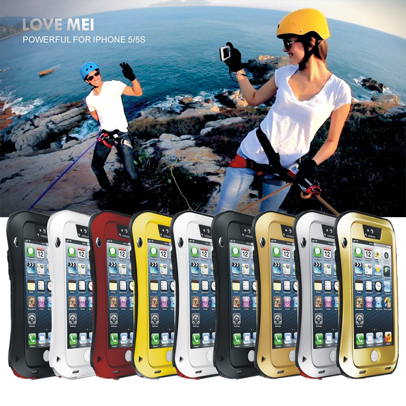 Love Mei case For iphone 5s waterproof Shockproof metal Small pretty wais cover cases For iphone5 Tempered Glass phone case