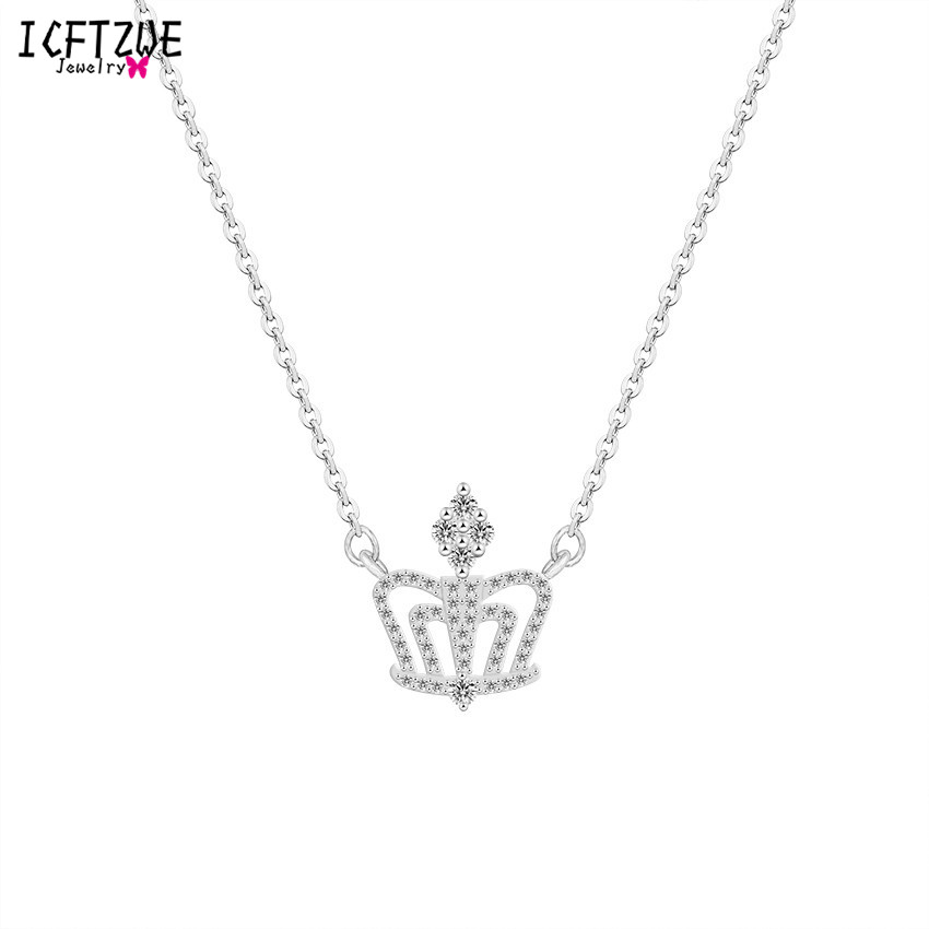 NEW Princess Letters Crown Crystal Pendant Charm Silver Necklace Chain Jewelry