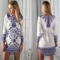 Новый женщины лето круглым воротом сексуальная цифровая печать цветок с длинными рукавами платье синий и белый фарфор шаблон сша стиль ес. Jn57