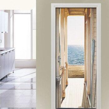 Open Door To The Sea Art Picture 3D Wall Murals PVC Self-Adhesive Wall Stickers Door Sticker Wallpaper Decals Home Decor Poster