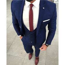 2018 New Arrival Mens Suits Wedding costume homme Handsome Groom Tuxedo Slim Fit Men Blazers Jacket Groom Prom Wear 3 piece