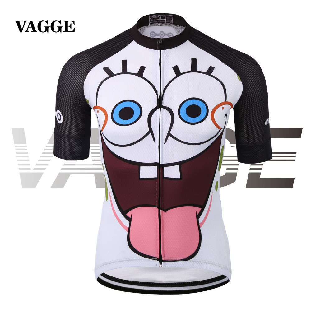 VAGGE unique white sublimation cycling clothing wear/funny cartoon men bike shirt/quick-dry 100% polyester racing ride cycle top