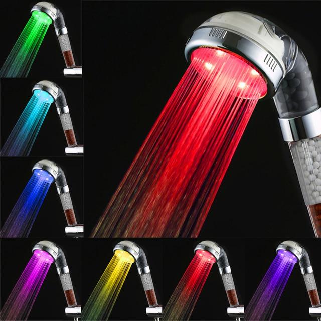 7 kleuren handdouche overhandigen negatieve ionen led douchekop voor badkamer romantische automatische led verlichting