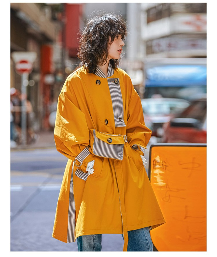 Street Trendy Women Loose Medium Long Yellow and Striped Patchwork Wind Coats Fashion Trench