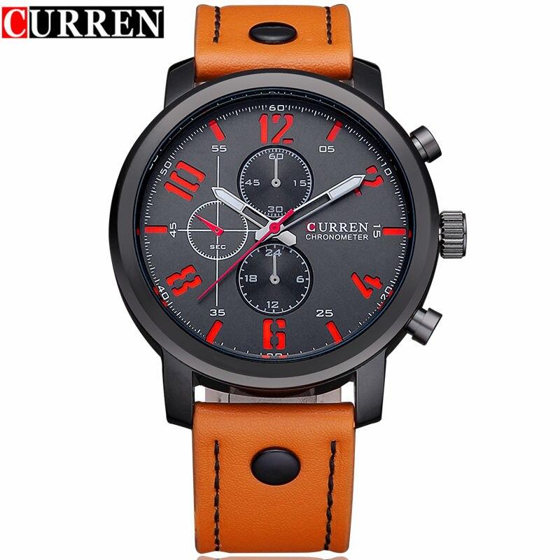Prix pour Curren 8192 Hommes Montres Top Marque De Luxe En Cuir Analogique Quartz Montre Hommes Casual Sport Horloge Mâle Montres Relogio Masculino
