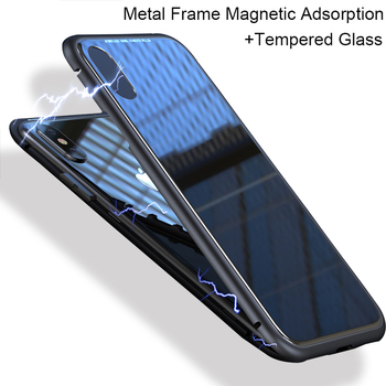Magnetic metal Adsorption frame case for iPhone 8 plus 7 plus 6 s cases transparent 9H Tempered glass fitted for iPhone X cases iPhone 8
