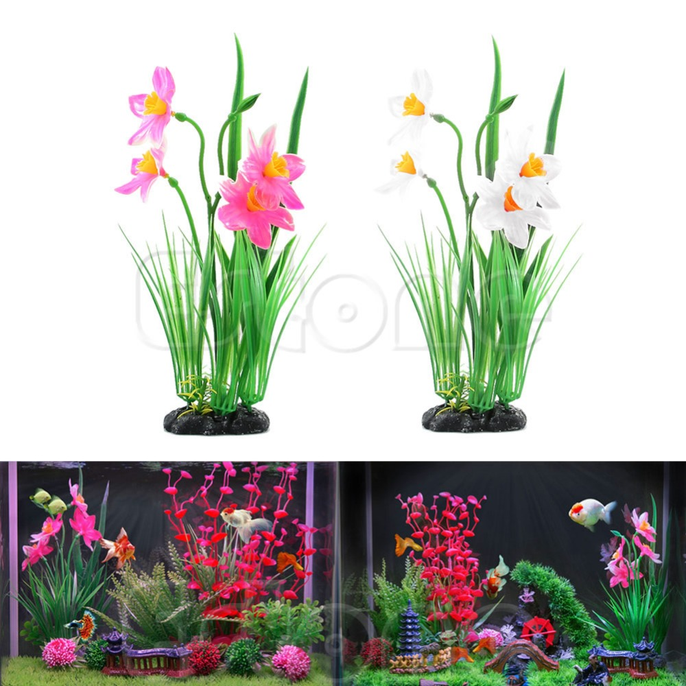 China aquarium fish tank price - Aquarium Fish Tank Man Made Pink White Daffodils Flowers Plants Decoration China Mainland