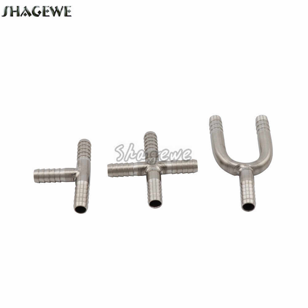 Stainless Steel Hose Splicer U Shaped Hose Barb Tee 3-Way T-Shape 4-Way Beer Connector Cross Fittings for Home Brew Beer Line