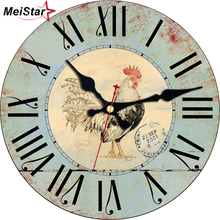 MEISTAR Vintage Wooden Cock Design Wall Clocks For Balcony Living Room Home Decorative Animal Watches Retro Art Large