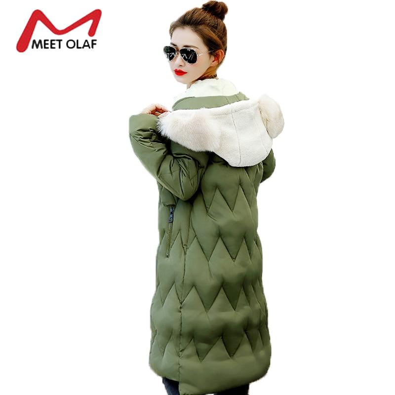 2017 Winter Jackets Women Winter Coats Long Fake Rabbit Fur Hooded Long Slim Cotton Padded Parka chaquetas invierno mujer Y1280