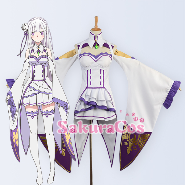 Re Zero kara Hajimeru Isekai Seikatsu Emilia Cosplay - Kostýmy