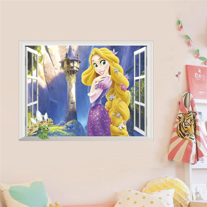 Rapunzel Princess 3d Window Wall Stickers For Home Decoration 3d Window Anime Mural Art Diy Kids Room Wall Decals