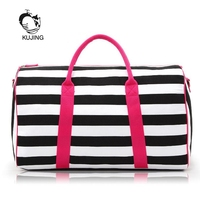 KUJING Women Handbags High-quality striped women's canvas bag Hot women's shoulder Messenger Bag Travel Beach Leisure Women Bag