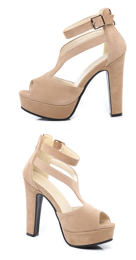 QUTAA 2017 Women Pumps Summer Black Ladies Shoe Square High Heel Peep Toe PU Leather Zipper Woman Wedding Shoes Size 34-43 17