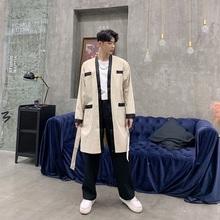 2019 wiosna nowych mężczyzna Trench Coat mężczyzna Streetwear w stylu Vintage moda na co dzień długi sweter kurtka wiatrówka kurtki tanie tanio EMAIGI Poliester Pełna Archiwalne V-neck Stałe STANDARD Kieszenie NONE REGULAR Suknem Konwencjonalne Chiny (kontynentalne)