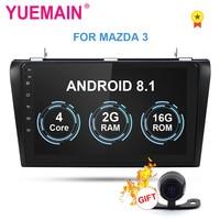 YUEMAIN 2Din Android 8,1 Автомобильный мультимедийный радио плеер для Mazda 3 2004 2009 лента Авторадио рекордер gps навигация wifi камера