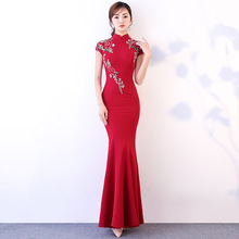 цена Plus Size 3XL 4XL Chinese Style Mermaid Cheongsam Satin Elegant Mandatin Collar Qipao Long Sexy Bride Wedding Dresses S-130 в интернет-магазинах