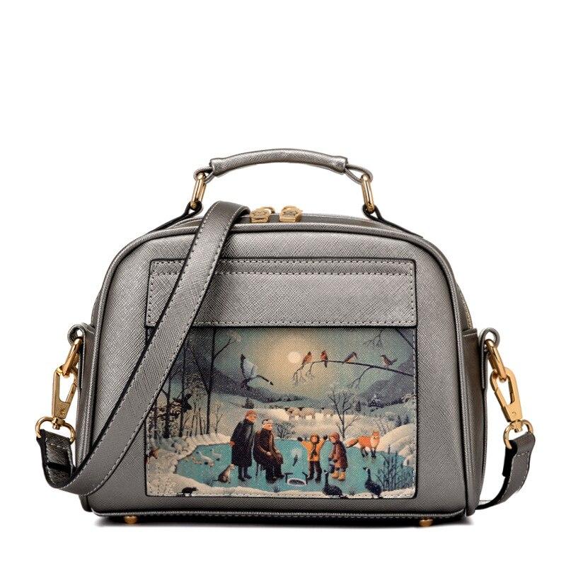 Mode tecknad tryckning kvinna väska med fickor små skal läder - Handväskor - Foto 3