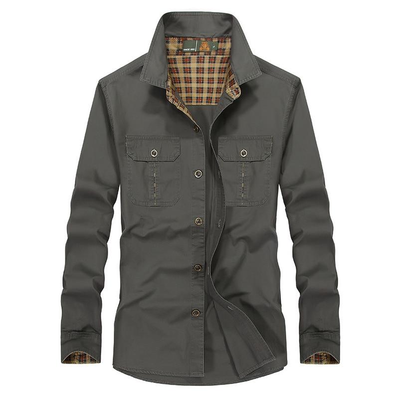 4b9125036c Comprar 2017 Nova moda camisa de manga longa militar homens Primavera  Outono casual camisa de algodão dos homens do exército de carga camisa  camisa ...