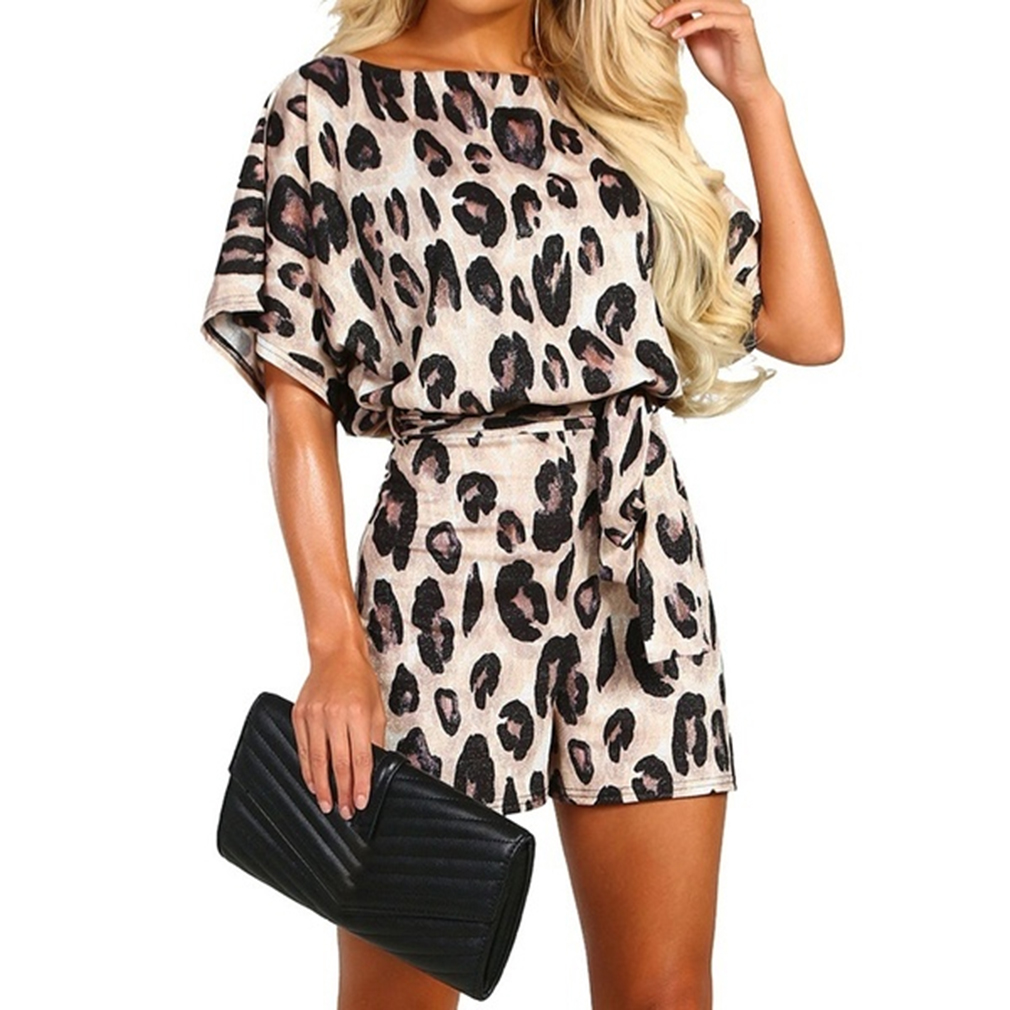Wide Leg Belted Leopard Romper Women Short Sleeve Round Neck Playsuit Summer Women Print Rompers Overalls Casual Playsuit