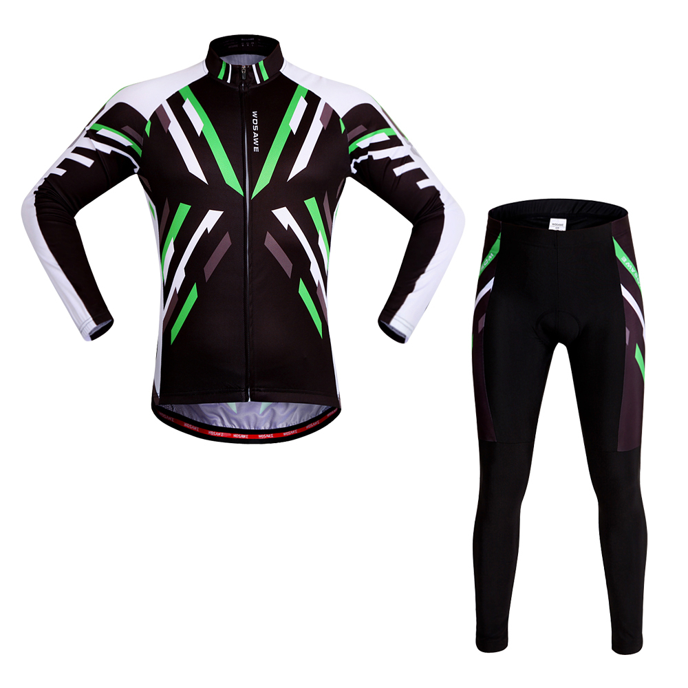 WOSAWE Mountain Bike Clothing Set Spring Summer Racing Clothing Sportswear Long Cycling Jersey Pants Sets Gel Pad for Men Women