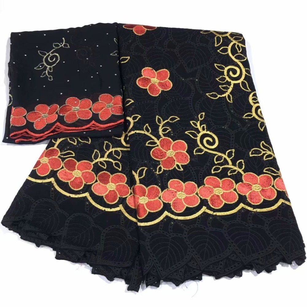 beautiful swiss 100 cotton fabric flowers leaves holes embroidered 5 yards 2 meters voile lace scarf