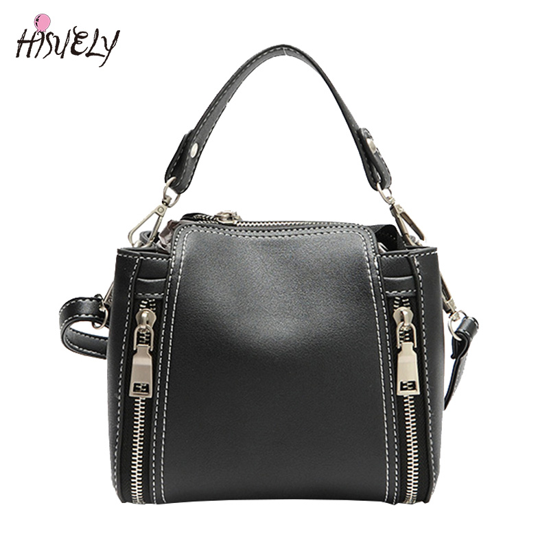 HISUELY Hot Sale New Women PU Leather Handbags Fashion Designer Black Bucket Vintage Shoulder Bags Women Messenger Bag Rivet hisuely 2017 vintage skull shoulder bags women bucket pu leather with silk female black handbags ladies casual chain tote bag