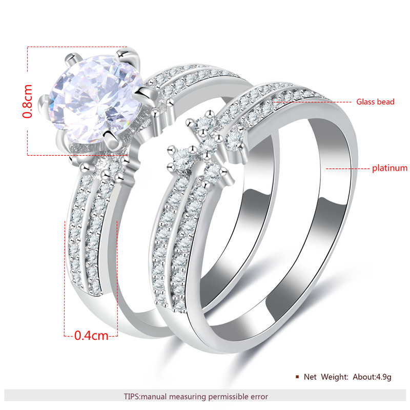 CC Jewelry Rings For Women Couple Ring 2pcs Wedding Bridal Engagement Bague Trendy Jewellery Bijoux Free Shipping CC875