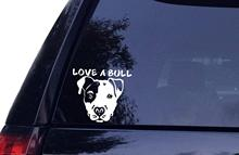 Love A Bull - Pitbull Dog Vinyl Car Decal, Laptop Decal, Car Sticker, 3 sizes animal pattern cute pet dog bull terrier car sticker window motorcycle laptop decal vinyl tape 3m h3510