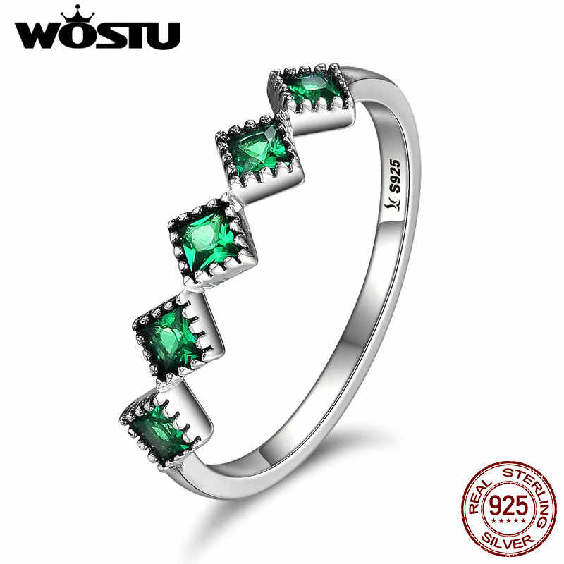 WOSTU New Fashion Authentic 100% 925 Sterling Silver Green Freshness Rings For Women Sterling-Silver-Jewelry Gift CQR097