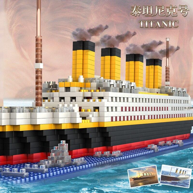 1860 pçs mini tamanho modelo titanic navio diy blocos de construção brinquedo titanic barco educacional coleção valor para o presente aniversário