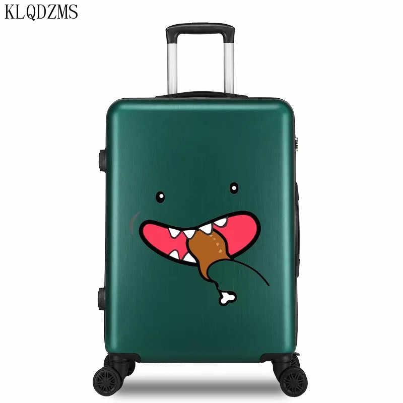 KLQDZMS 20/22/24/26 zoll ABS + PC mode cartoon-muster roll gepäck männer frauen reisen trolley koffer mit rad