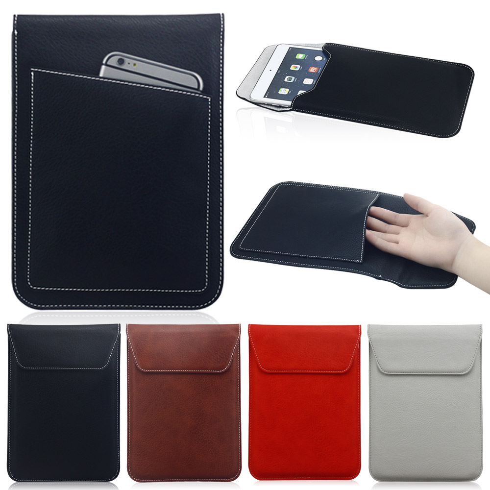 Universal 8 inch Tablet Sleeve Bag Pouch Case For iPad mini 1 2 3 4 For Kindle Fire hd 7 For Mipad 2 Pocket Soft Leather Case 7 9 13 sleeve bag case universal wool felt fabric tablet cover for ipad 2 air 1 mini huawei 10 1 inch samsung mipad pouch capa