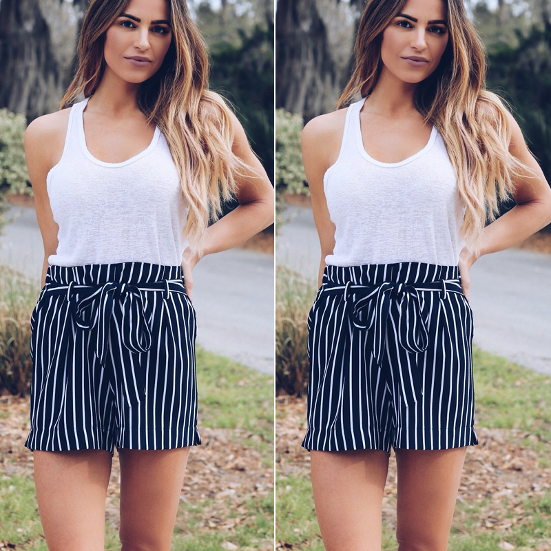 HTB1uaaJn25TBuNjSspmq6yDRVXal - Navy Striped Shorts Pants High Waist JKP392