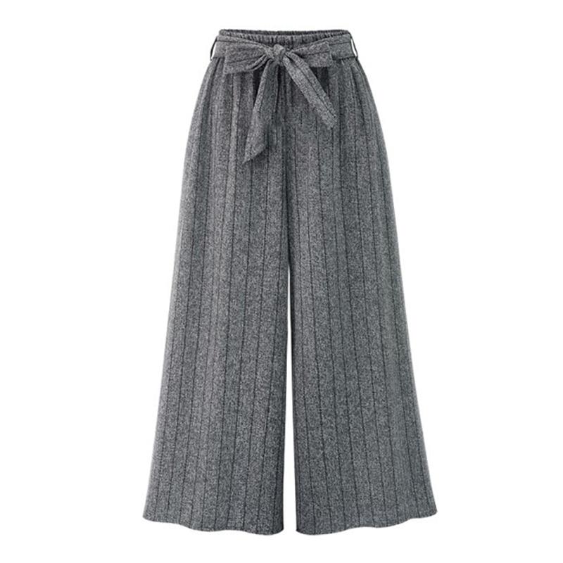 Wide     Leg     Pants   Women Sashes Loose Autumn Winter Trousers Women 2018 Grey Black High Waist Flat   Pants   Fashion CasualPlus Size 4XL