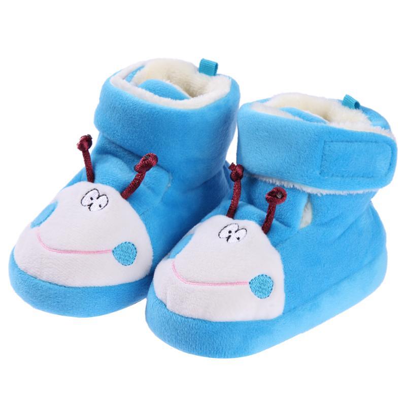 Cartoon Baby Boots Warm Plush Lining Autumn Winter First Walkers Infant Girls Boys Soft Warm Prewalker Shoes
