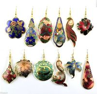 Wholesale 10pairs Chinese Handmade Vintage Cloisonne Enamel Earring