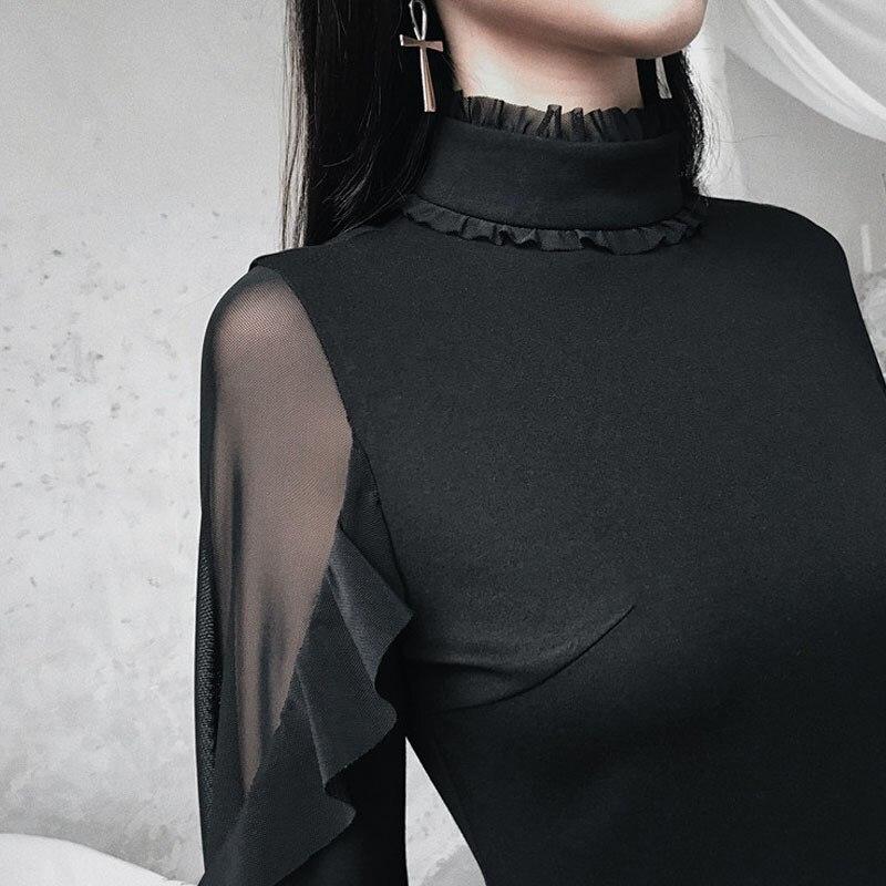 2019 été femmes papillon manches Mini robe Style Punk gothique Stand volants cou robe noire taille haute a-ligne robes Sexy - 6